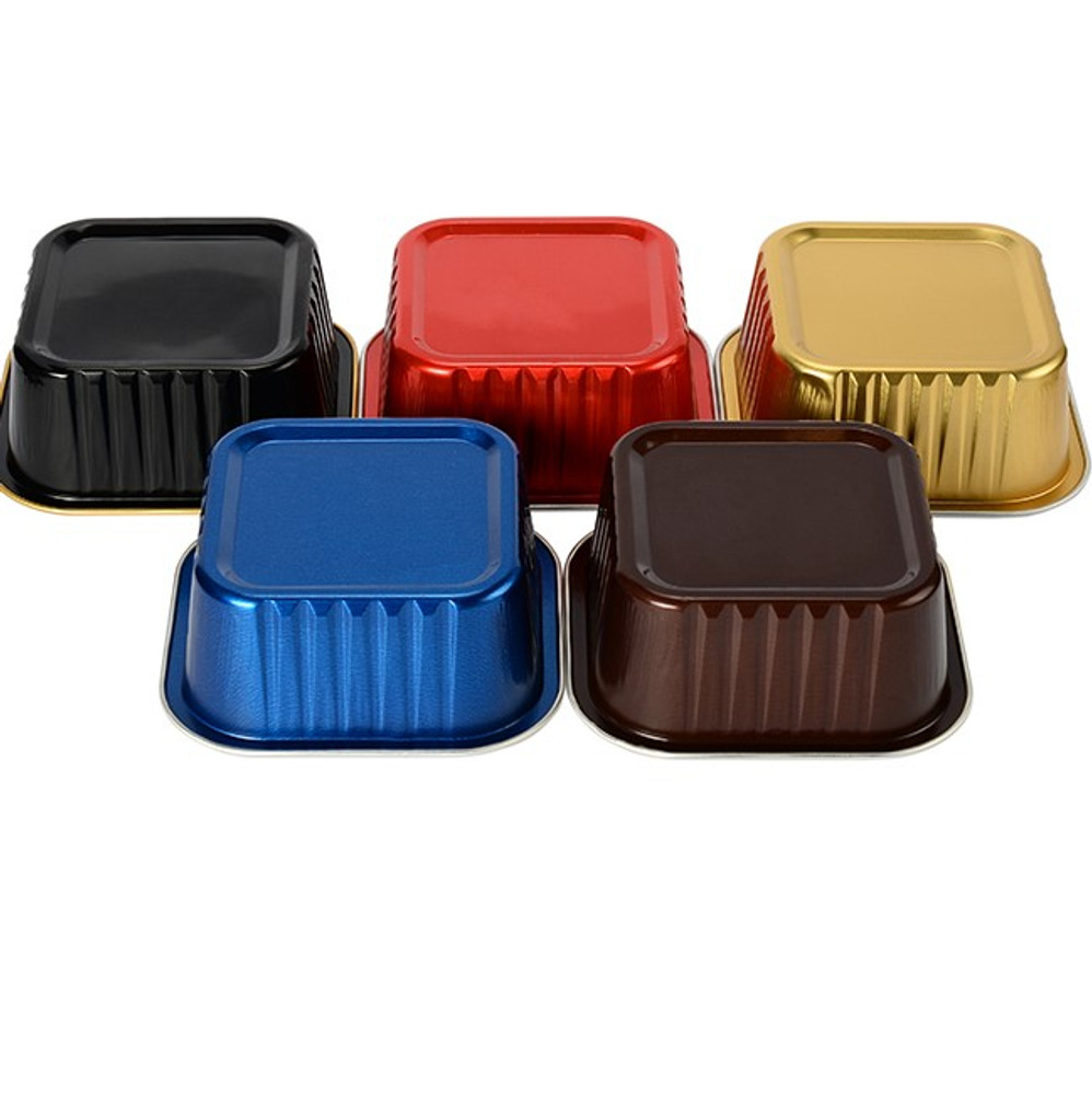 6 Ounce Square Colored Aluminum Dessert Pan #A31NL