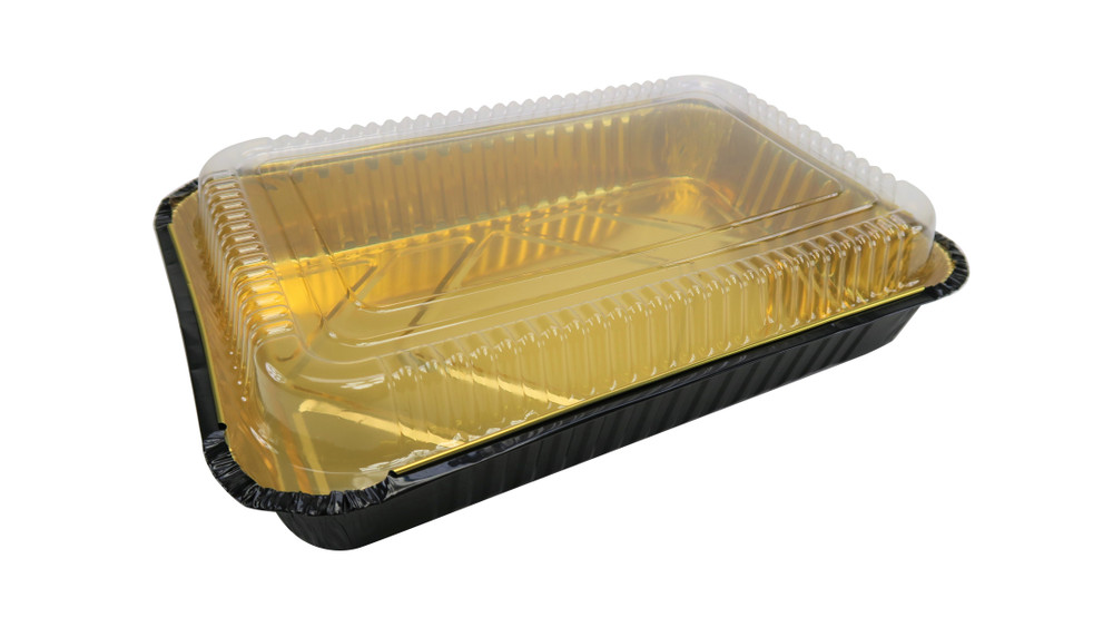 Disposable Colored Aluminum  4½  Lb. Carryout Pan with Plastic Lid #52180P