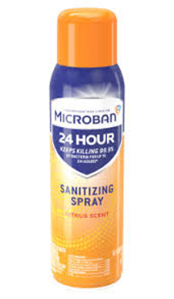 Microban 24 hour Sanitizing Spray- 15 oz Bottle- Citrus scent- Case Pack of 6