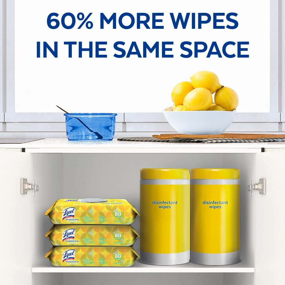 Lysol Disinfecting Wipes- Case of 6 packs of 80 (480 Total)