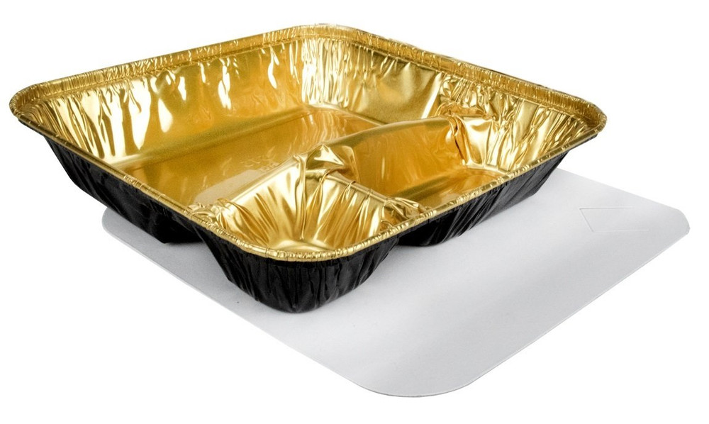Black & Gold  Extra Large Disposable 3 Compartment Tray with Board Lid   #2345-B&G