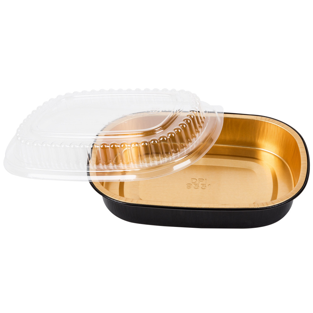 23 oz. Black and Gold Foil Entrée or Take Out Pan with Dome Lid