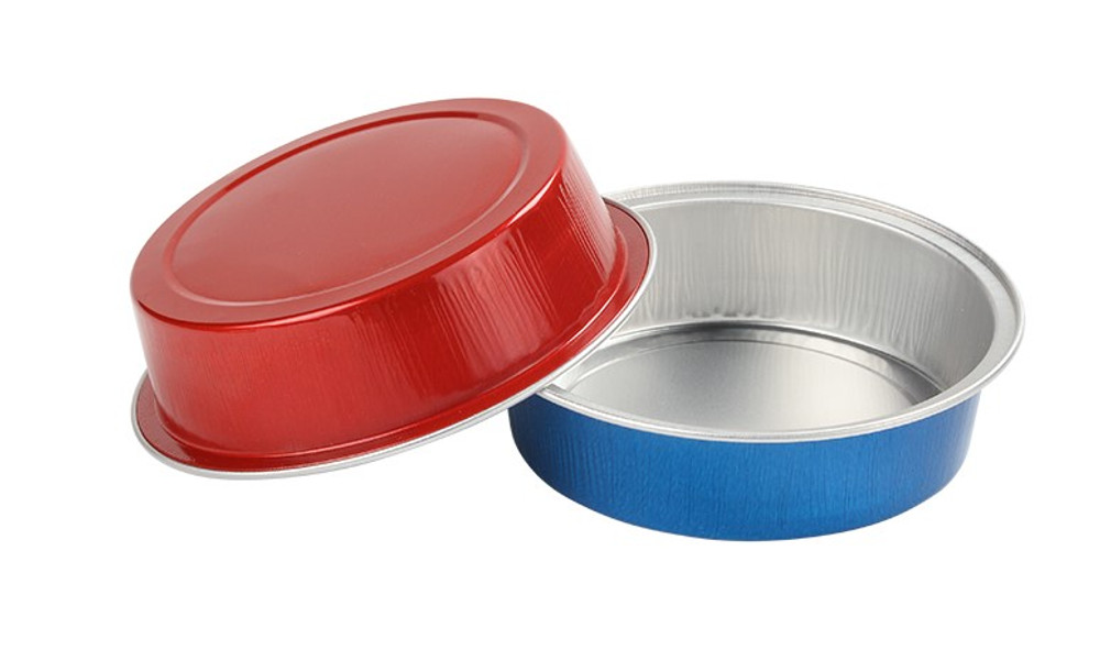 8 oz. BLUE Disposable Round Foil Pan with Snap-on Plastic Lid  #A42P