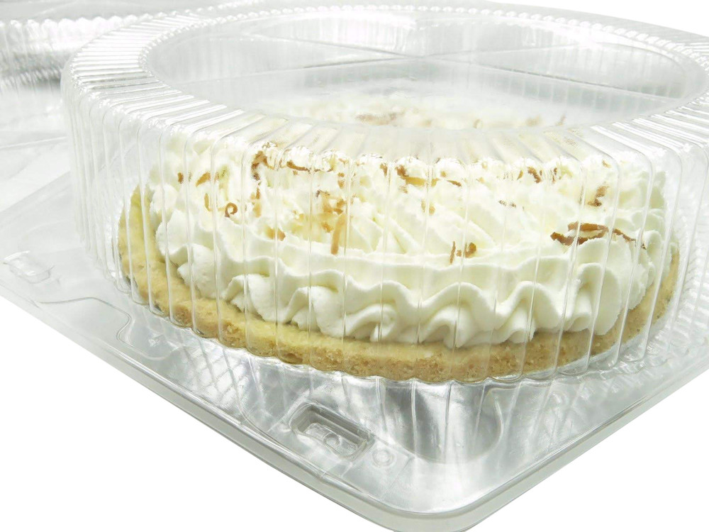 "10"" pie container - clear plast clamshell - high dome"