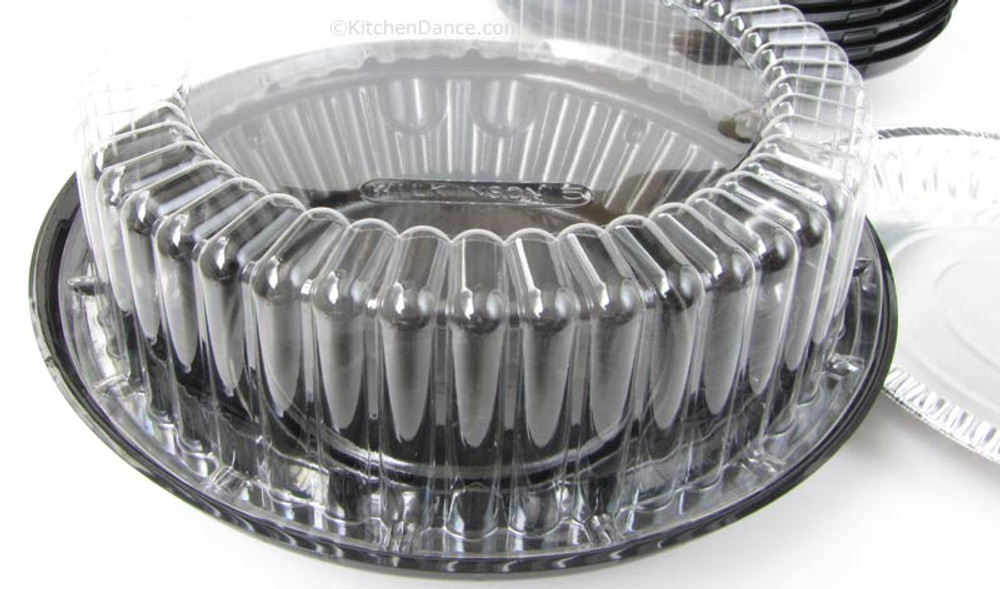 """8"""" pie container - clear plastic, two piece, high dome"""