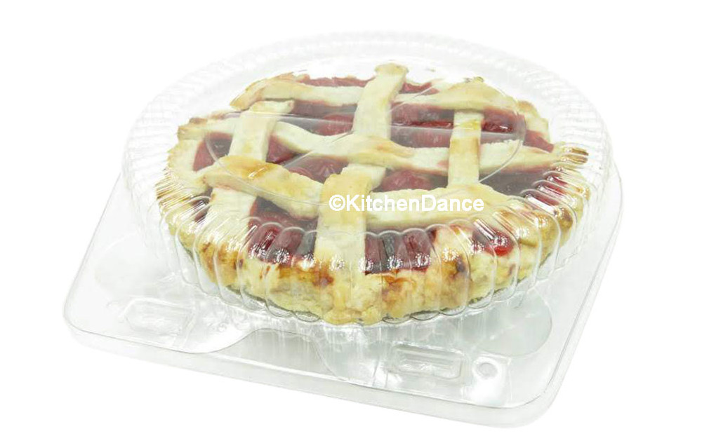 "6"" clamshell pie container - clear plastic - standard dome height"