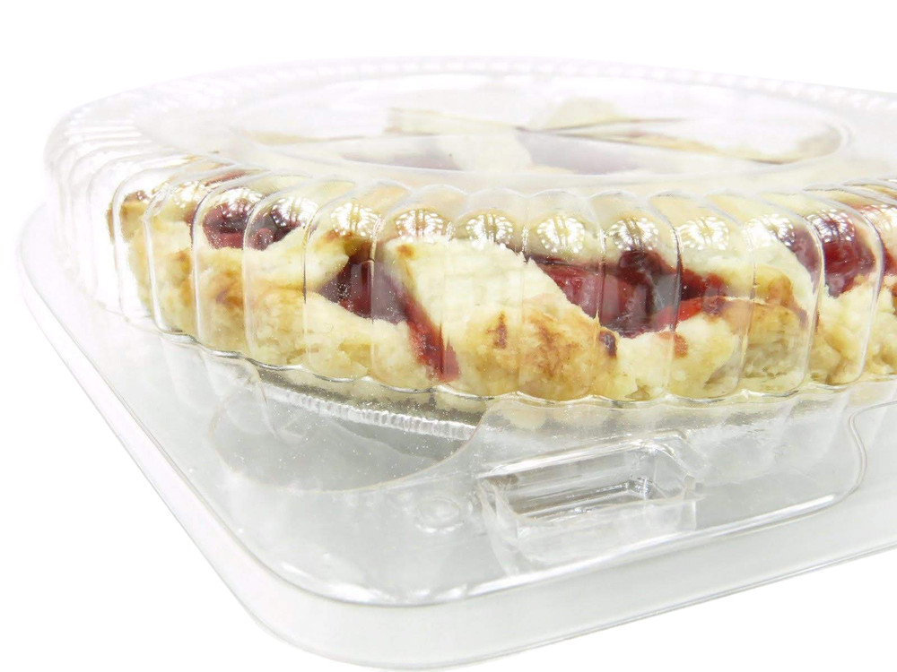 """6"""" clamshell pie container - clear plastic - standard dome height"""