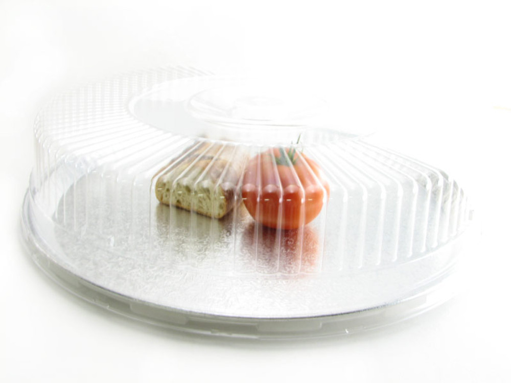 "disposable aluminum foil 18"" catering tray, food serving tray, with plastic dome lid"