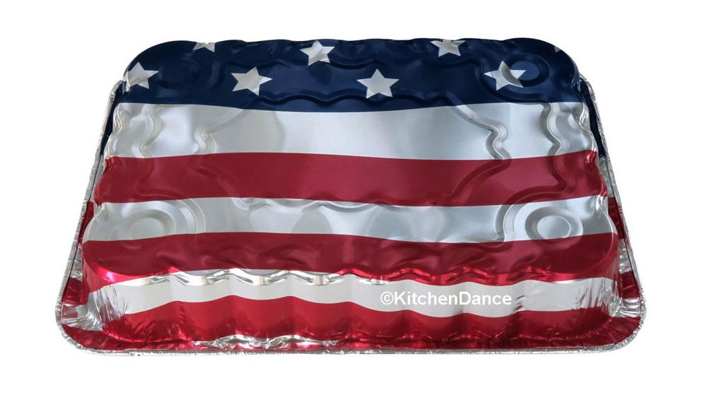 disposable aluminum foil baking pan, American Flag, July 4th.