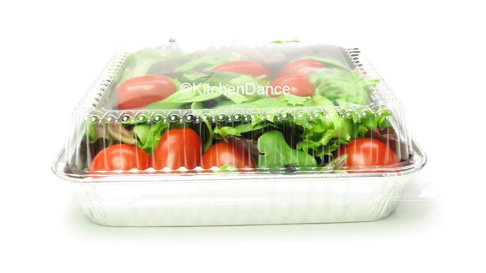 """disposable aluminum foil 8"""" cake pan, baking pan, food container with plastic dome lid"""