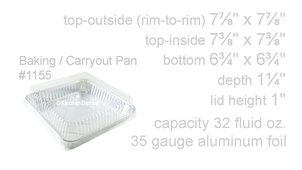 "disposable aluminum foil 8"" cake pan, baking pan, food container with plastic dome lid"