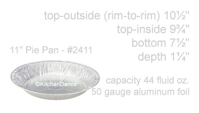 "KitchenDance 11"" Disposable Aluminum Foil Pie Pan  #2411"