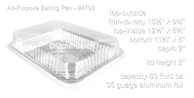 disposable aluminum foil all purpose baking pan, cake pan, food container with a plastic dome lid