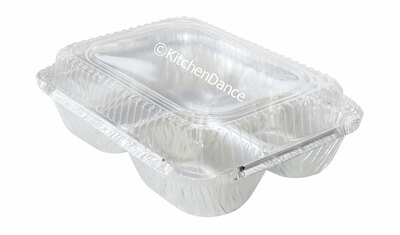 disposable aluminum foil carryout pan, takeout pan, baking pan, food serving pan - 3 compartment or 3 sectio