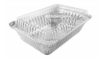 disposable aluminum foil 1½ lb. carryout pan, takeout pan, shallow beking pan, food storage container with plastic lid
