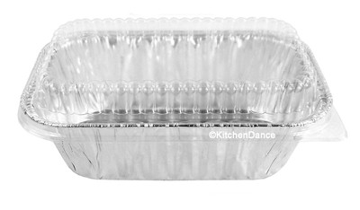 disposable aluminum foil 1 lb. loaf pan, baking pan, food container with plastic dome lid