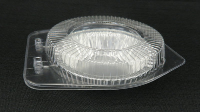"disposable aluminum foil 5"" small pie / tart pan, pie tin and plastic clamshell container"