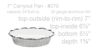 "disposable aluminum foil 7"" carryout/takeout pans, baking pans, food containers with crimp on board lid"