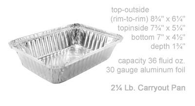 disposable aluminum foil 2¼ pound carryout/takeout pans, baking pans, food containers