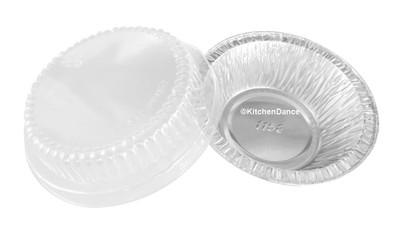 """disposable aluminum foil deep 4"""" tart pan, mini pie pan, pie tin, small baking pan with lid"""
