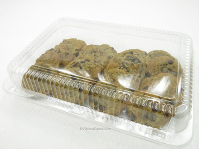 "12"" x 8"" disposable plastic bakery container, food container, presentation box, showcase"