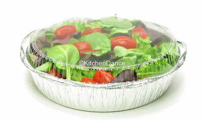 "disposable aluminum foil 10"" round baking pan, carryout pan, takeout pan, food container with plastic lid"