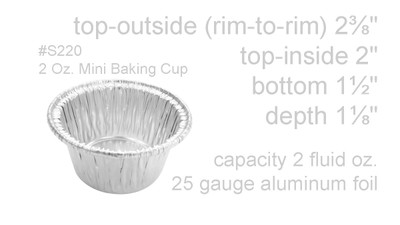 disposable aluminum foil 2 OZ. dessert cup, individual serving size