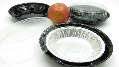 "6"" foil pie pan and plastic container"