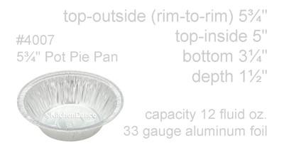 """disposable aluminum foil 5¾"""" pot pie pan, deep baking pan"""