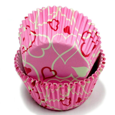 100 Count (2 packs) Fancy Pink Heart Design Cupcake Liners