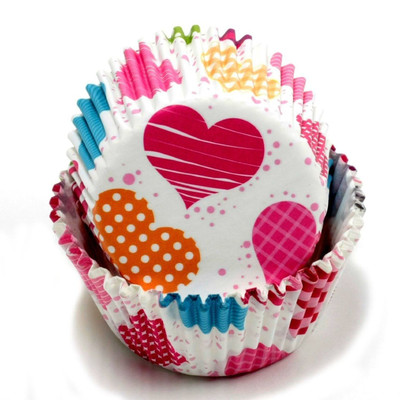 100 Count (2 packs) Colored Hearts Design Cupcake Liners