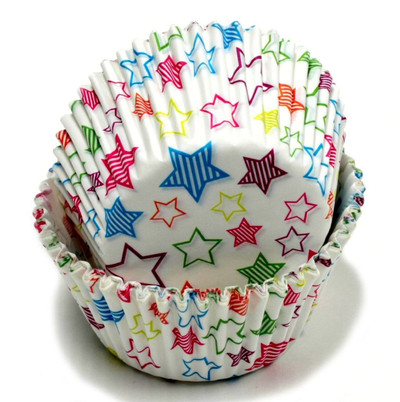 100 Count (2 packs) Stars Design Cupcake Liners