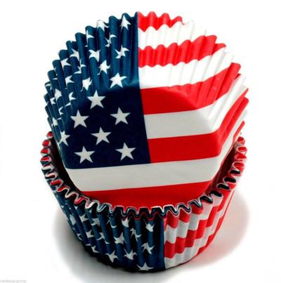 50 ct. American Flag Cupcake Liners w/ 50 Flag Picks