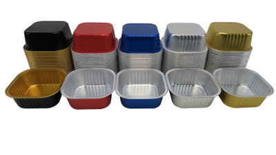 disposable aluminum foil 11 oz. colored holiday baking pans, individual serving size dessert pans