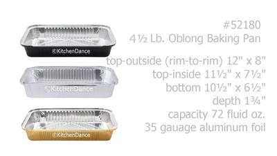 disposable aluminum foil 4½ lb. baking pan, carryout pan, take out pan, food serving pan