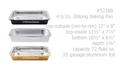 disposable aluminum foil 4½ lb. baking pan, carryout pan, take out pan, food serving pan
