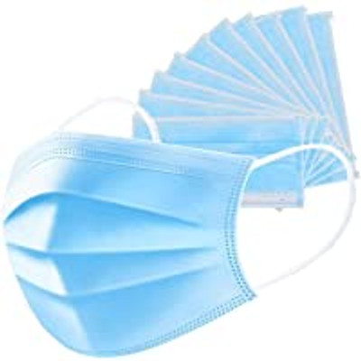 Disposable 3 Fold/3 Layer One time use Face Masks. Sealed Box of 50 masks- Blue