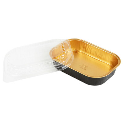 16 oz. Black and Gold Foil Entrée or Take Out Pan with Dome Lid #9220PT