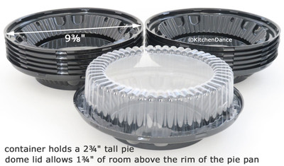 "8"" pie container - clear plastic, two piece, high dome"