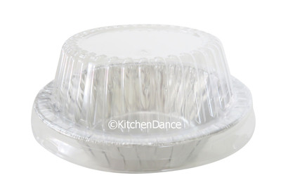 "disposable aluminum foil 5¾"" pot pie pan, baking pan, dessert pan, serving pan, food container with plastic dome lid"