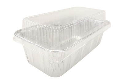 2 lb. Disposable Aluminum Foil Loaf Pan with Plastic Lid   #5100P