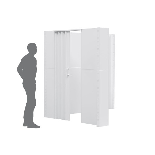 """The EverPanel L-Shaped Wall Kit w/ Door with an 8'3"""" wide wall and 6'6"""" wide wall."""