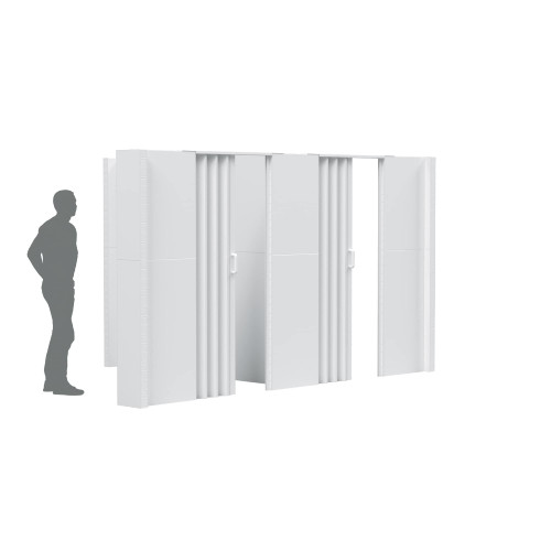 """The EverPanel T-Shaped Wall Kit with an 10'6"""" wide wall and 8'6"""" wide wall and 2 doors."""