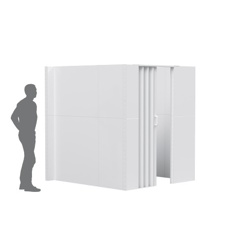 The EverPanel U-Shaped Wall Kit with an accordion door integrated.