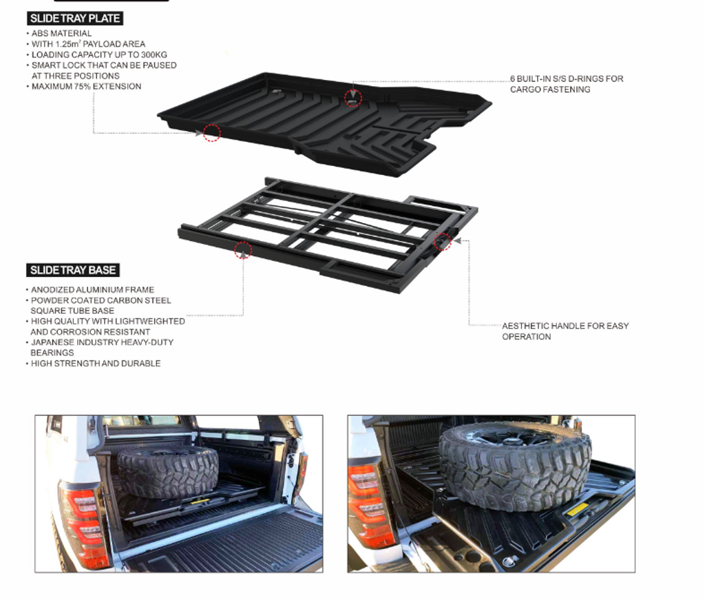 Sliding Tray Drawer for Toyota Hilux 2004-2021