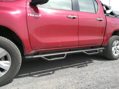 Black HD Running Boards / Side Bars For Toyota Hilux 2015-2020