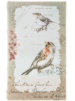 Pressboard Book Box for Storing Decants - Beige Antique Birds with Writing