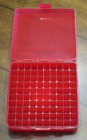 MTM 100 Round Flip-Top Ammo Box for Storing 1ml Vials - Clear Red