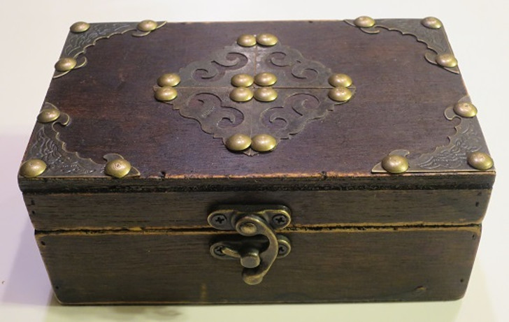Wooden Box With Metal Accents For Holding Your Decants