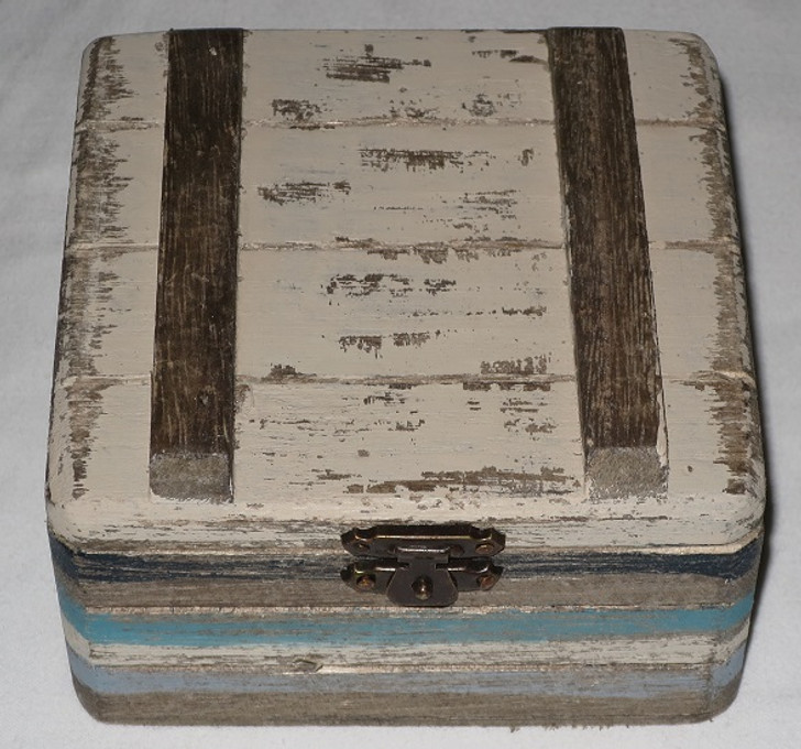 """Wooden Slatted """"Beachy"""" Looking Box For Holding Your Decants"""